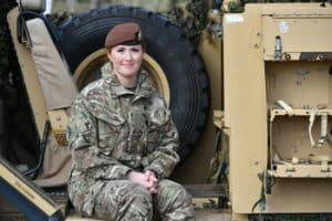 Kat Dixon: Royal Wessex Yeomanry Tank Gunner reservist Lance Corporal Kat Dixon, 28, from Swindon in Southwest England BEN BIRCHALL/PA IMAGES VIA GETTY IMAGES