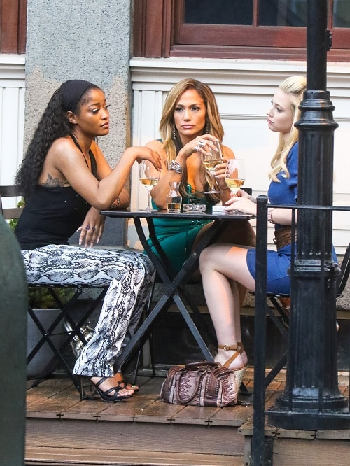 Keke Palmer, Jennifer Lopez and Lili Reinhart are seen on the film set of 'Hustlers' in New York City.