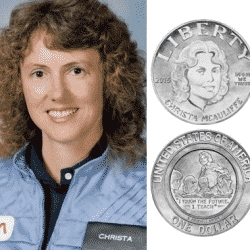 Christa McAuliffe pictured in her NASA Uniform with coin