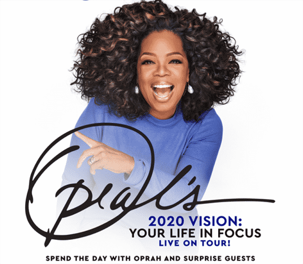Oprah's picture on the Tour 2020 poster