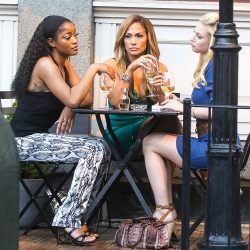 NEW YORK, NY: Keke Palmer, Jennifer Lopez and Lili Reinhart are seen on the film set of 'Hustlers' in New York City