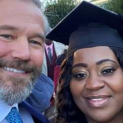 Latonya Young wearing cap and gown pictured with Uber passenger kevin esch