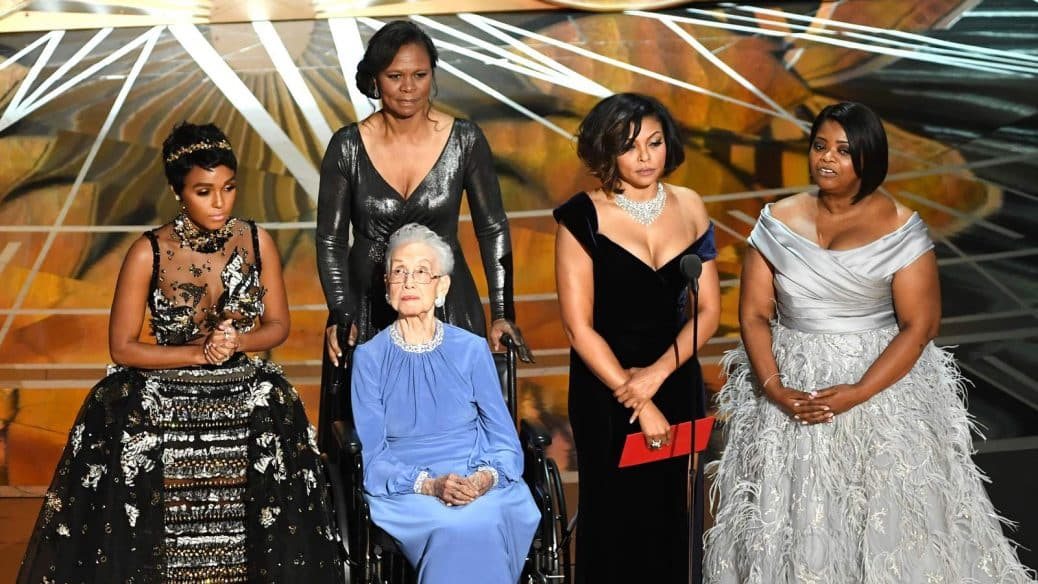 Pioneering black NASA mathematician Katherine Johnson pictured with the stars of Hidden Figures