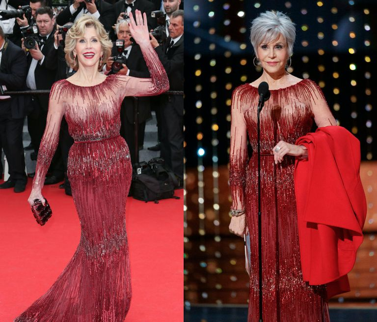 Jane Fonda wears red dress and carries red coat on the red carpet