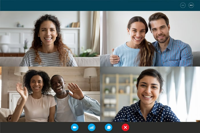 Laptop webcam screen view multiethnic families contacting Mother on Mother's day by video conference