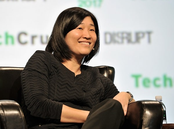 Jenny Lee sitting on a panel at TechCrunch Disrupt in San Francisco